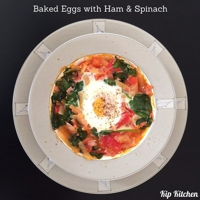Baked Eggs with Ham and Spinach | kipkitchen.com