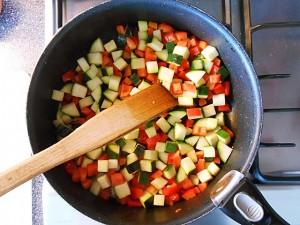 Vegetarian Cake-Fry the vegetables kipkitchen.com #vegetarian #cake #healthy